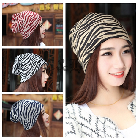 4 color High Quality Fashion Summer Zebra Pattern Pile cap Women Beanies Knitted gorros Hip-Pop Skullies bonnet Hat For Adult(China (Mainland))