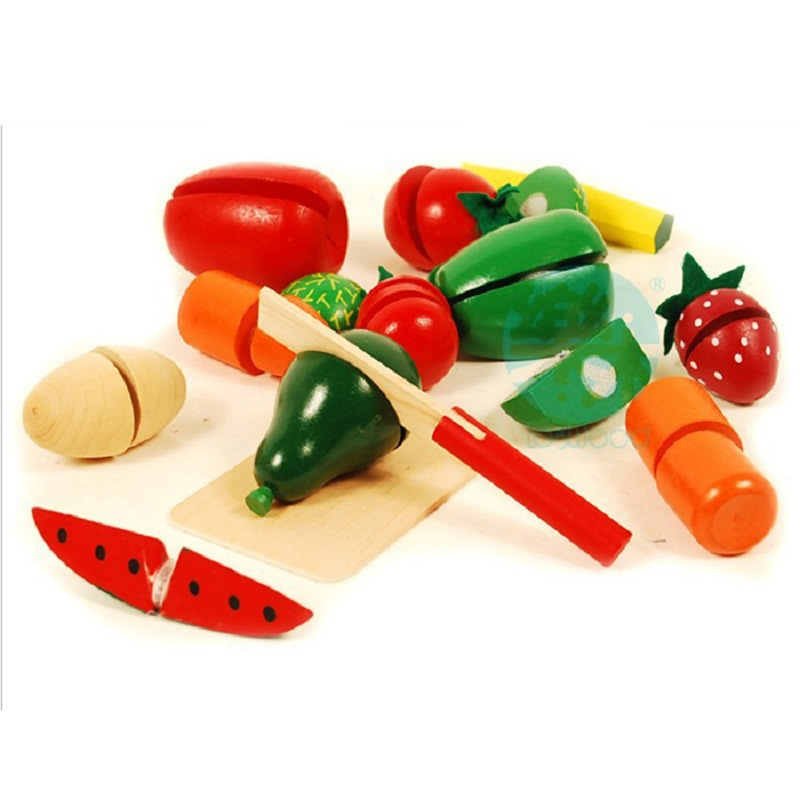 New 13pcs Children Wood Kitchen Toys Colorful Pretend Toys Educational Cut Toys for Kids Baby Cut Fruit Vegetable High Qulity(China (Mainland))