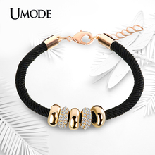 UMODE Simple Slide Beads Designer Austrian Rhinestones Gold Plated Rope Charm Bracelets Chain Lobster Jewelry for Women UB0074(China (Mainland))