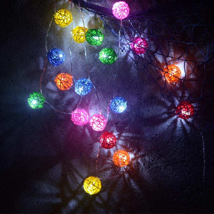 Beautiful Mix Colour Rattan Ball Natural Light Party Indoor Outdoor Party Lamp Wedding Decoration String Lights(China (Mainland))