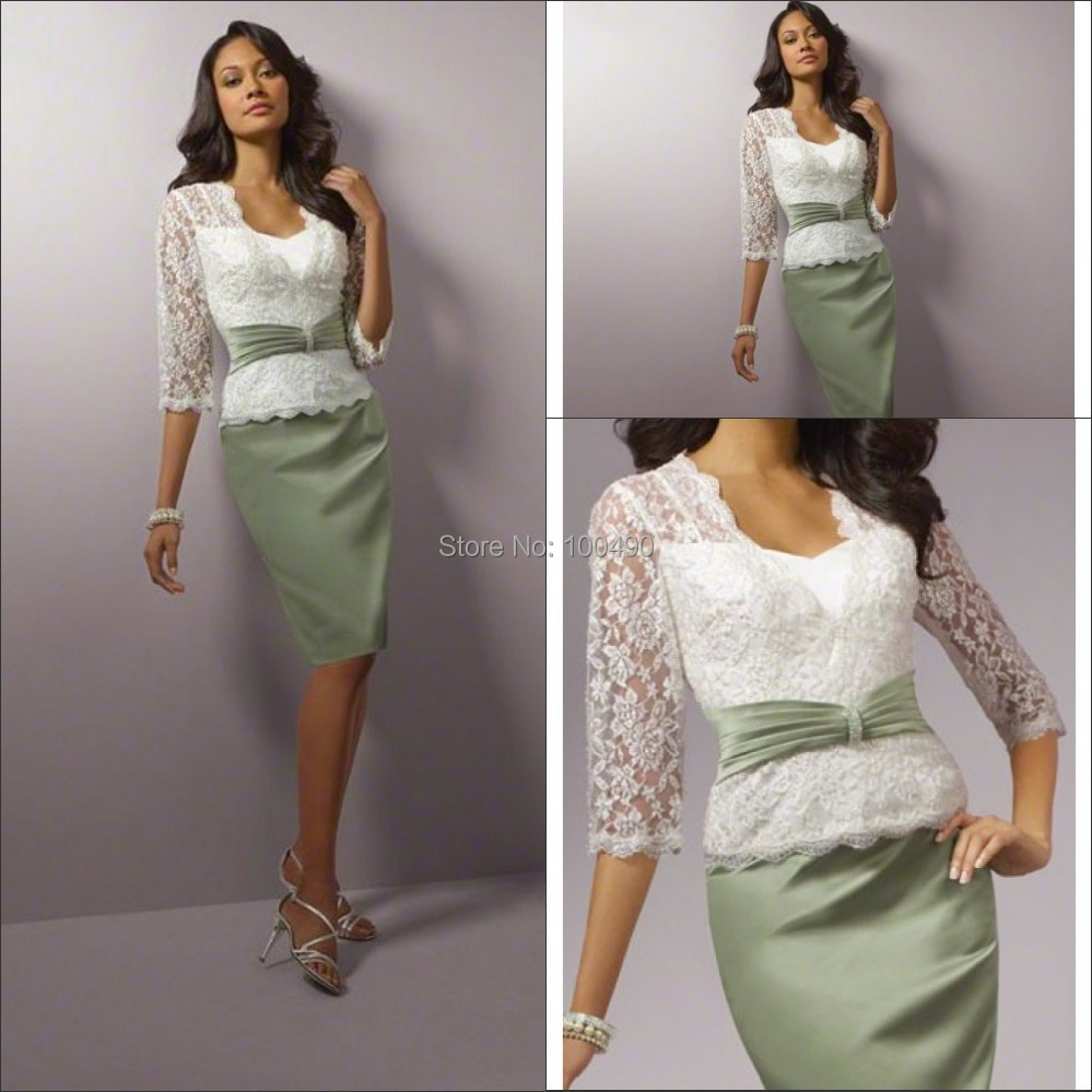 A line band and skirt lace jacket knee length lace for Cocktail dress with jacket for wedding