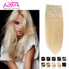 Color 60 # Clip in Human Hair Extensions Blonde Human Hair Clip In Extensions 70g-140g  Platinum Blonde Remy Human Hair Clip In(China (Mainland))