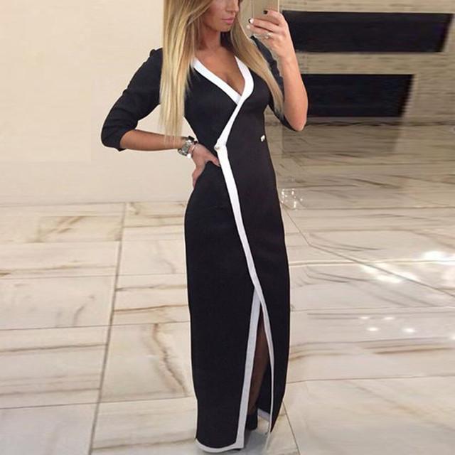 Новый 2016 весна Vestidos женщины одеваются шеи сексуальный V молнии Bodycon длинные конькобежец платье элегантный - платья Clubwear
