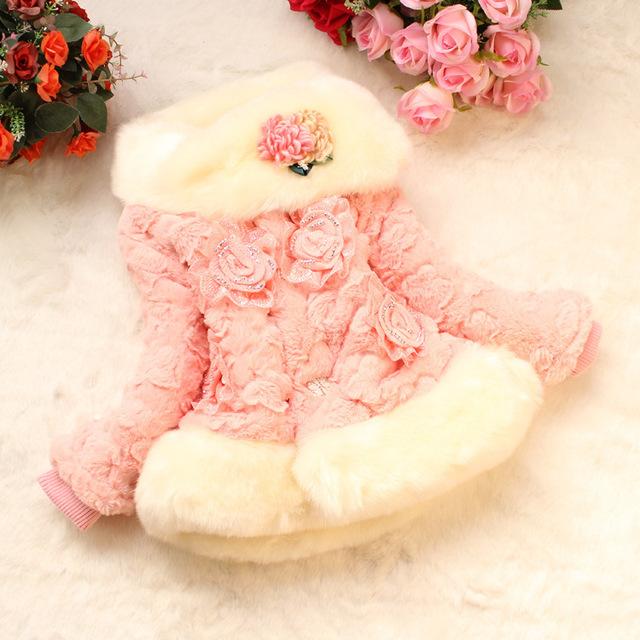 2016 новый ребенок куртка плюс бархат теплой весной и осенью утолщенной детские пальто мода искусственного меха куртка девушка