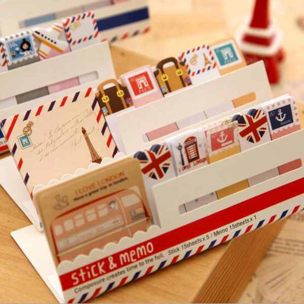 Post It Kawaii British Style Mini Sticky Notes Adhesive Memo Pads Stickers Scrapbooking Diary Planner Pretty Office Stationery(China (Mainland))