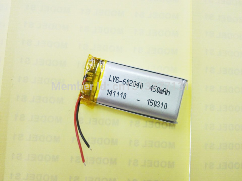 Battery factory outlet 602040 450mah lithium-ion polymer battery quality goods quality of CE FCC ROHS certification authority(China (Mainland))