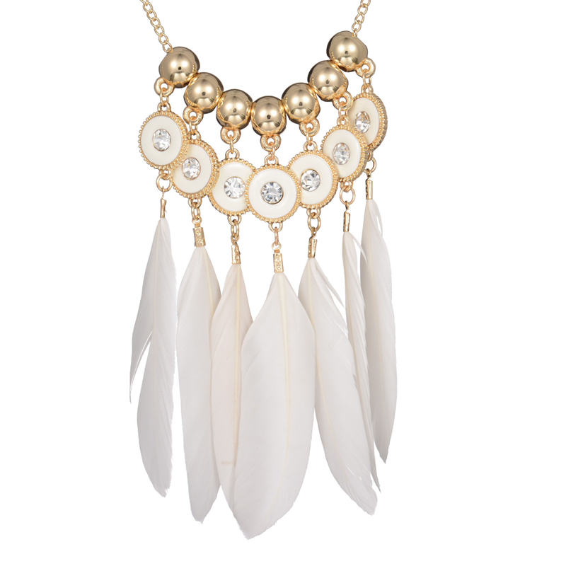 2016 Indian Jewelry White Feathers Necklaces & Pendants Fashion Jewelry Crystal Charms Initial Necklace Collares Mujer JN15169(China (Mainland))