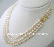 """3 Rows 7-8mm White Akoya Cultured Pearls Necklace 17-21""""xu80(China (Mainland))"""