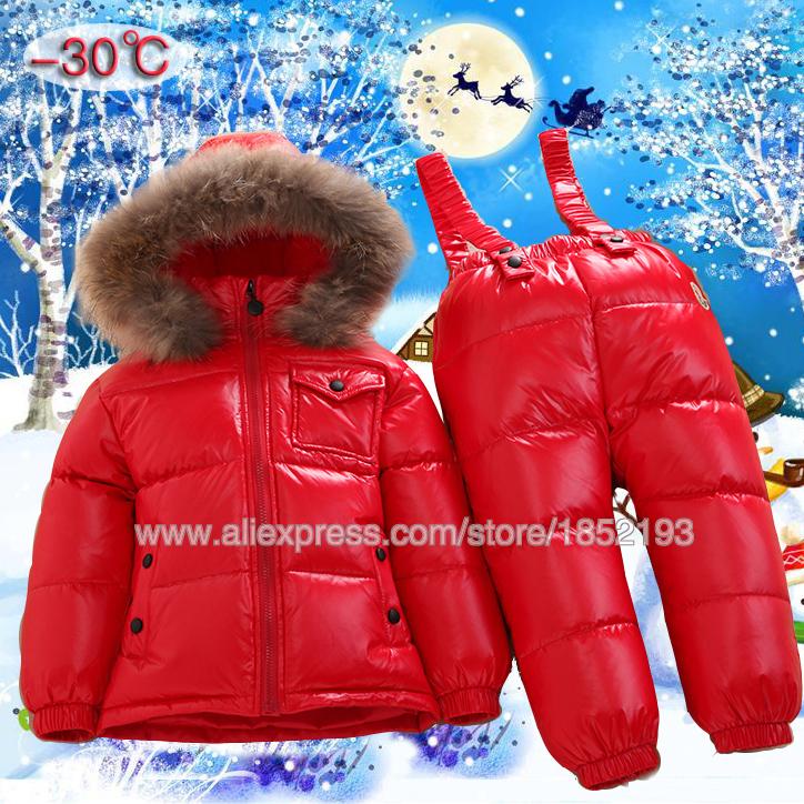 Здесь можно купить  2015 New Winter Down Coat Children Set Christmas Snow Wear Boys Girls Ski Jacket Super Warm Fur Collar 90% Down   Детские товары