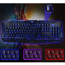 Hot Selling Russian Version Gaming Keyboard 3 Colors Adjustable Backlight USB Wired Pro Gamer Keyboard for Laptop Desktop LOL CS(China (Mainland))