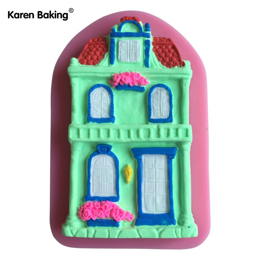 House Shaped Silicone Mold Cake Decoration Fondant Cake 3D Food Grade Soap Chocolate Moulds--C611(China (Mainland))