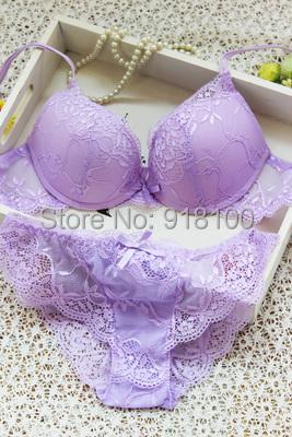product New 2014 sexy underwear women bra set deep-V lace bra brief setgather BRA&PantiesSexy lace Brand Push Up ABC cup lingerie set