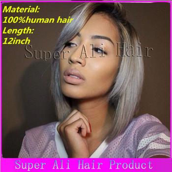 New arrival short u part wig unprocessed human brazilian virgin #1b grey ombre upart wig short bob straight two tone u part wigs