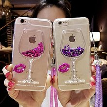 Goblet Wine Glass Liquid Quicksand Flowing Floating Bling Glitter Sexy Makeup Case for Girls with Wrist Strap for iphone6/6splus(China (Mainland))