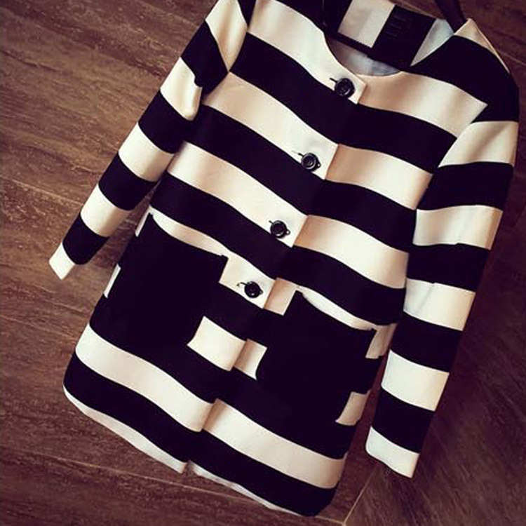 2015 New spring and Autumn Women Outerwear Striped Printed Jacket Slim Casual Coat WF-9443(China (Mainland))