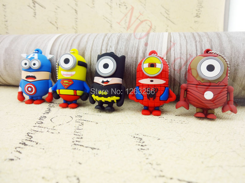 Pen drive cartoon super heros minions usb 2.0 flash memory stick pendrive 4GB 8GB 16GB 32GB 64GB usb creativo flash drive u disk(China (Mainland))