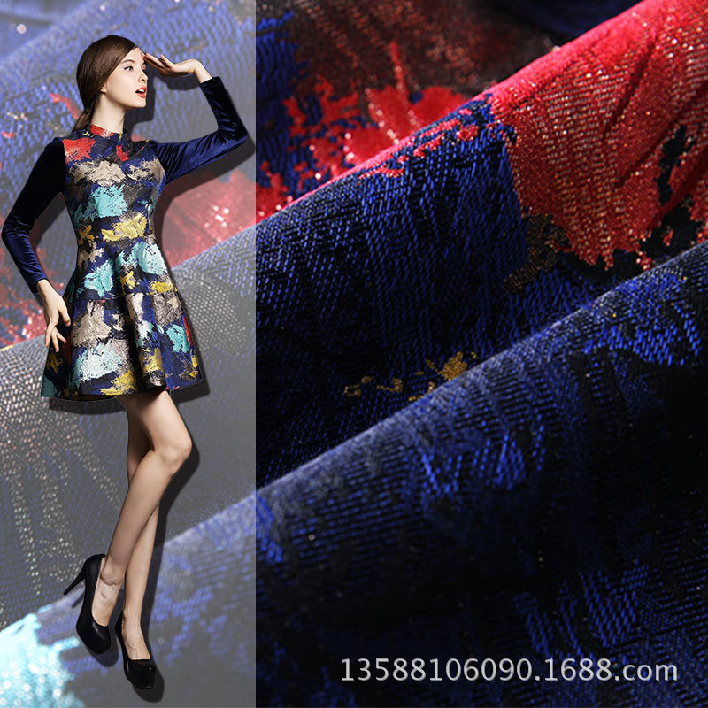 2015 3m/lot 145cm gold jacquard fabric knitted fashion fabric Maple graffiti material industry manufacturers selling rainbow(China (Mainland))