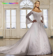 Buy Vestido Novia 2016 Custom Made White/Ivory Satin Embroidery Beading Sequined Lace A-Line Long Sleeve Wedding Dress Bride Dress for $197.40 in AliExpress store