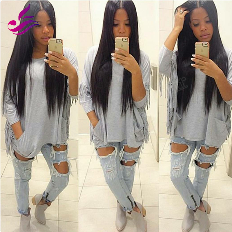 7A Brazilian Virgin Human Hair U Part Wigs Glueless Natural color Silky Straight Left/Middle/Right Part Wigs for Black Women
