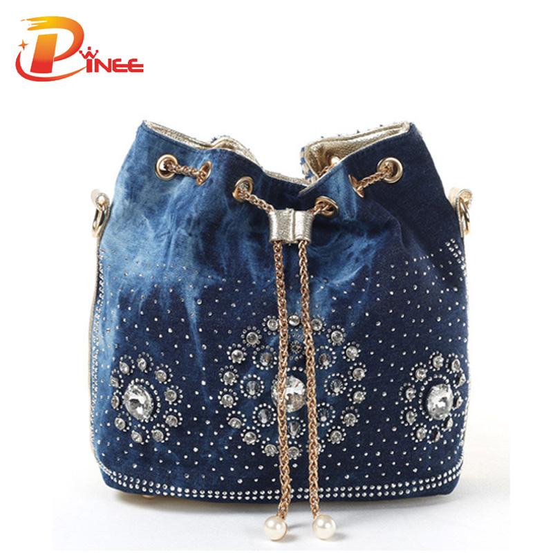 Summer 2016 Gold Chain Denim Handbags For Women Casual Bling Rhinestone Jeans Women Shoulder Bags(China (Mainland))