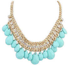 Goddess Teardrop Chain Bib Necklace Sparkling Rhinestone Necklace Fashion Party Jewelry cxt909363(China (Mainland))
