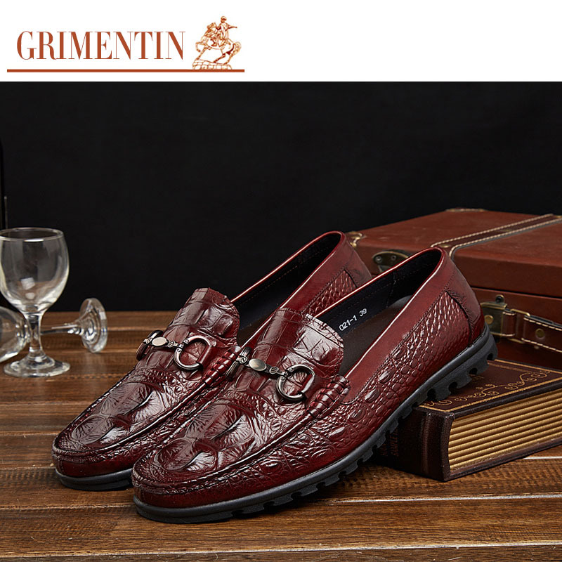 2015 Italian luxury brand casual mens shoes genuine leather summer style brown alligator flats for men loafers driving size38-44(China (Mainland))