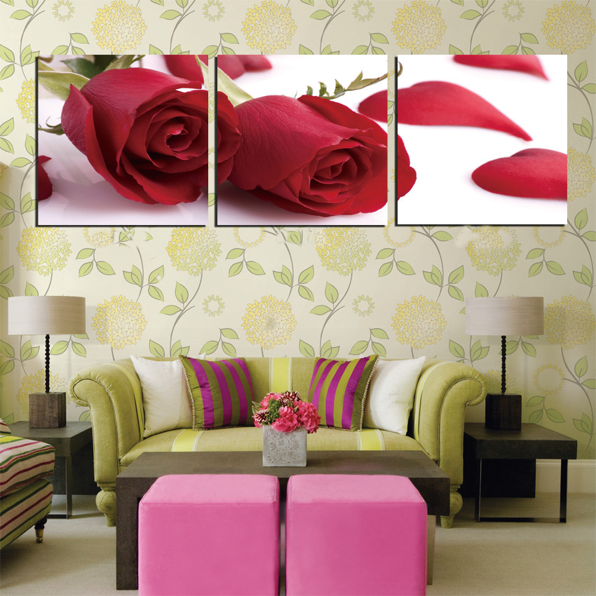 Free Shipping Flower Heart Red Roses Lover It Wall Decor Canvas Wall Painting 3 Piece Art Picture Home Decor Modern Painting