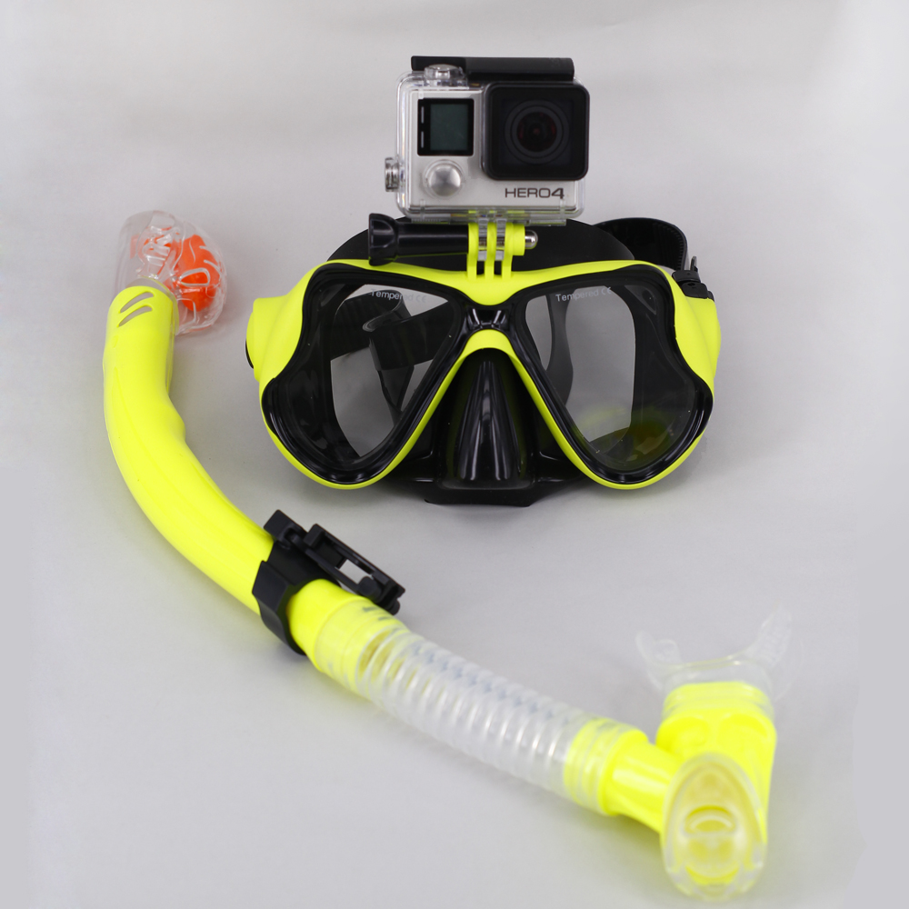 New Gopro silicon diving mask with snorkeling set for Gopro and For Xiaomi Yi sports camera scube mask for diving(China (Mainland))