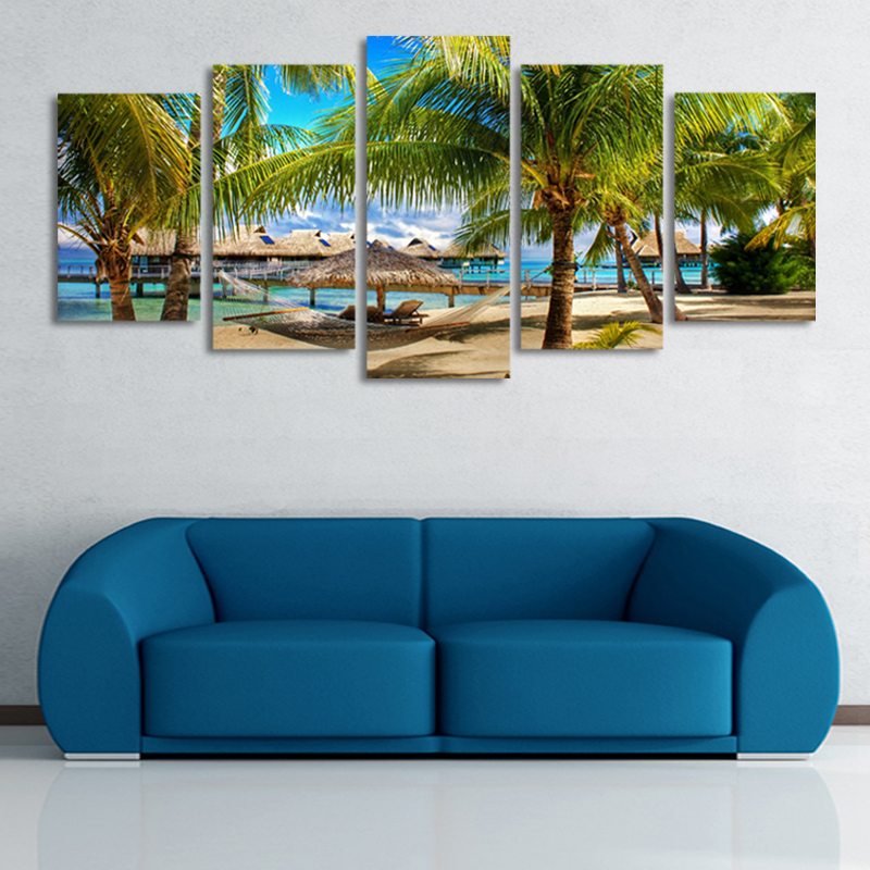 5 PcsNo Frame Coconut Trees Beach Painting Canvas Wall Art Picture Home Decoration Living Room Print Modern Decor Olivia