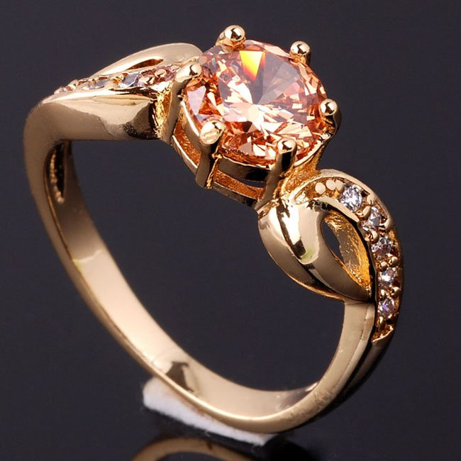 6pcs Champagne Citrine Crystal Lady Cocktail Ring Size 8 Gold GF Red Purple Stones Mix Available J0418(China (Mainland))