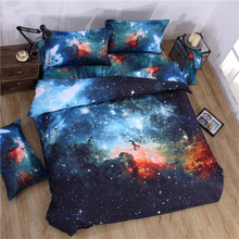 3d Galaxy bedding sets Twin/Queen Size Universe Outer Space Themed Bedspread 3pcs/4pcs Bed Linen Bed Sheets Duvet Cover Set(China (Mainland))
