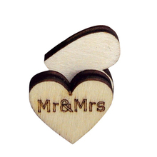 Buy 50pcs Rustic Wooden Heart Carved Mr&Mrs Wedding Embellishments Table Decoration Crafting DIY Accessory for $1.31 in AliExpress store