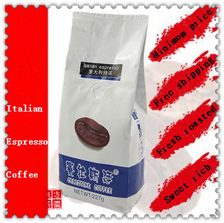New 2014 High Quality DarkRoasted Italian Coffee Fresh roasted Espresso Coffee Beans Coffee Bean Slimming 227g