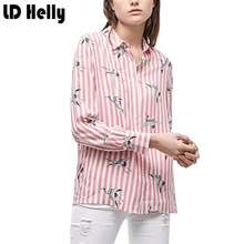 Buy Fashion Pink Cranes Print Striped Women Blouses Turn-down Collar Long Sleeve Shirts Female Casual Streetwear Tops Blusas Mujer for $12.25 in AliExpress store