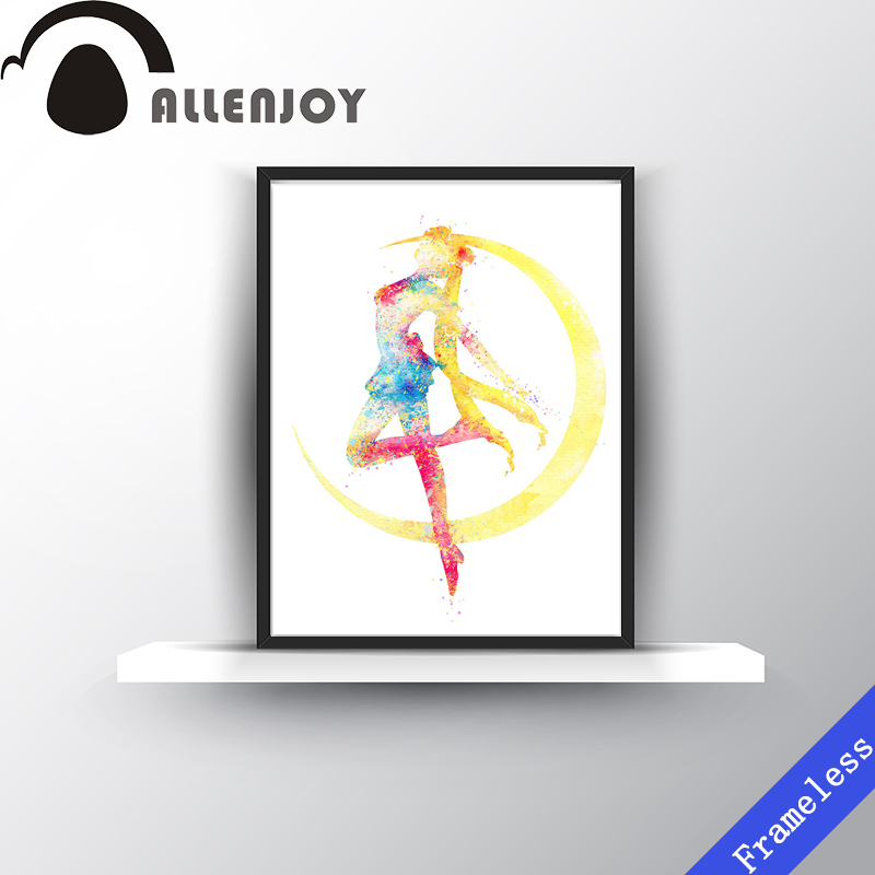 Watercolor Sailor Moon Pop Japanese Movie Anime Poster Print Girl Hipster Abstract Wall Art Home Decor Canvas Painting Frameless