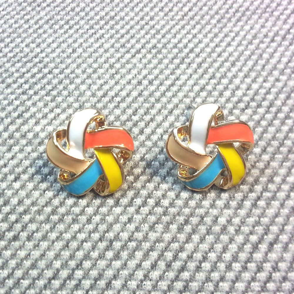 Windmill Stud Earring Rainbow Lucite Enamel Gold Plated Alloy Push Back Ear Clip For Women Girls Fashion Jewelry EH1408HM11(China (Mainland))