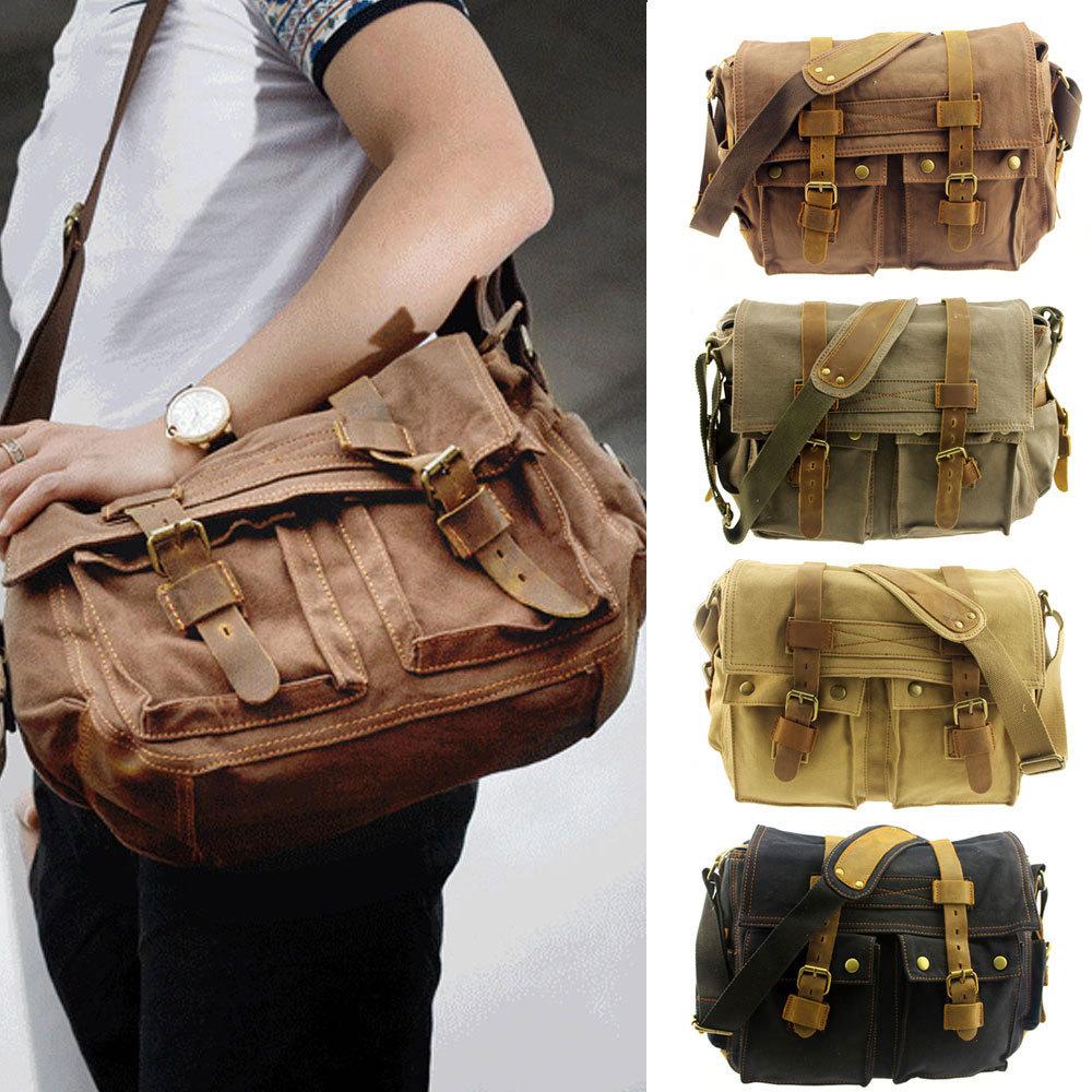 New Fashion Men's Vintage Canvas Shoulder Bag Leather Messenger Travel School Bags Casual Crossbody Bag(China (Mainland))