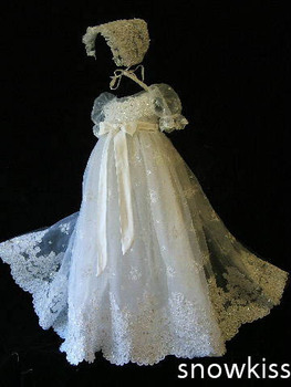 Embroidery Beaded Christening Gown Baby Dresses Newborn Outfit White/Ivory Custom Made Lace Baptism Robe With Bonnet