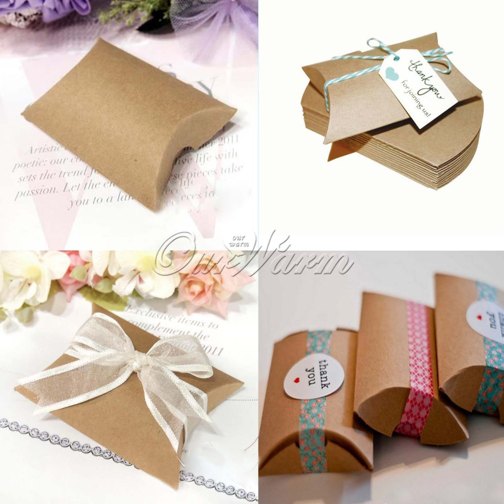 wedding gift box 50Pieces/lot New Style Kraft Pillow Shape Wedding Favor Gift Box Party Candy Box Wholesales(China (Mainland))