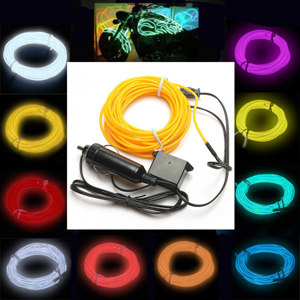 1M/2M/3M/5M Car Cigarette Lighter Socket Plug Neon Light Car Decor Light Neon LED lamp Flexible EL Wire Rope Tube LED Strip(China (Mainland))