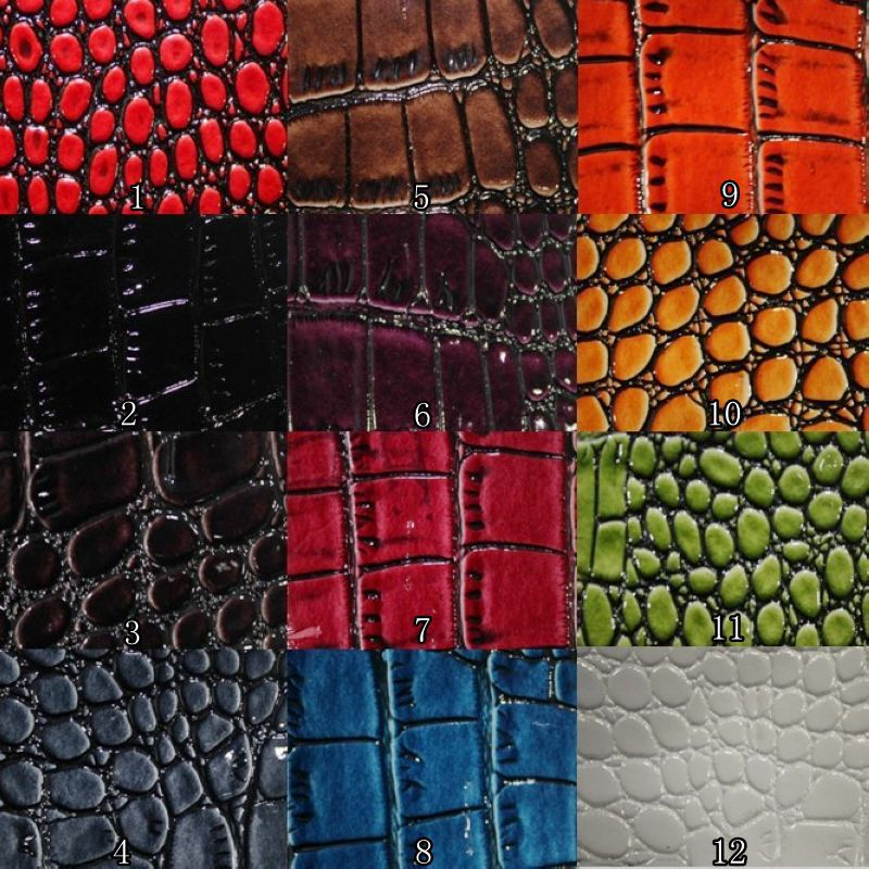 Spot nonwoven substrate embossed synthetic leather crocodile pattern high light PU leather material(China (Mainland))