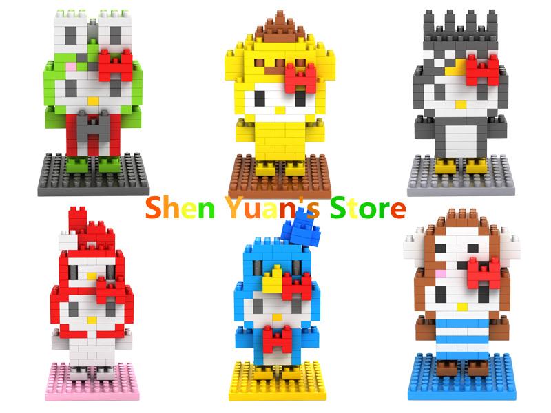 LOZ Diamond Building Toy Blocks Hello Kitty Toys Animal Series Cute Anime Figures Models Hobbies(China (Mainland))