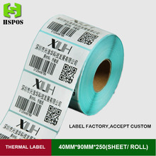 40mmx90mm 250pcs one roll quality thermal printer labels sticker blank paper can be customized logo self adhesive printing papel