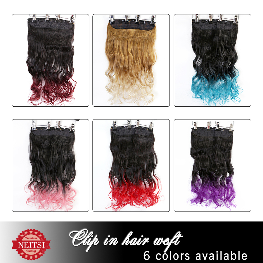 "Neitsi Ombre Synthetic Clip In Hair Extensions Curly Weave Braiding Hairpiece Clip In For Beauty Woman Hair 22"" 100g/pc 6Colors(China (Mainland))"
