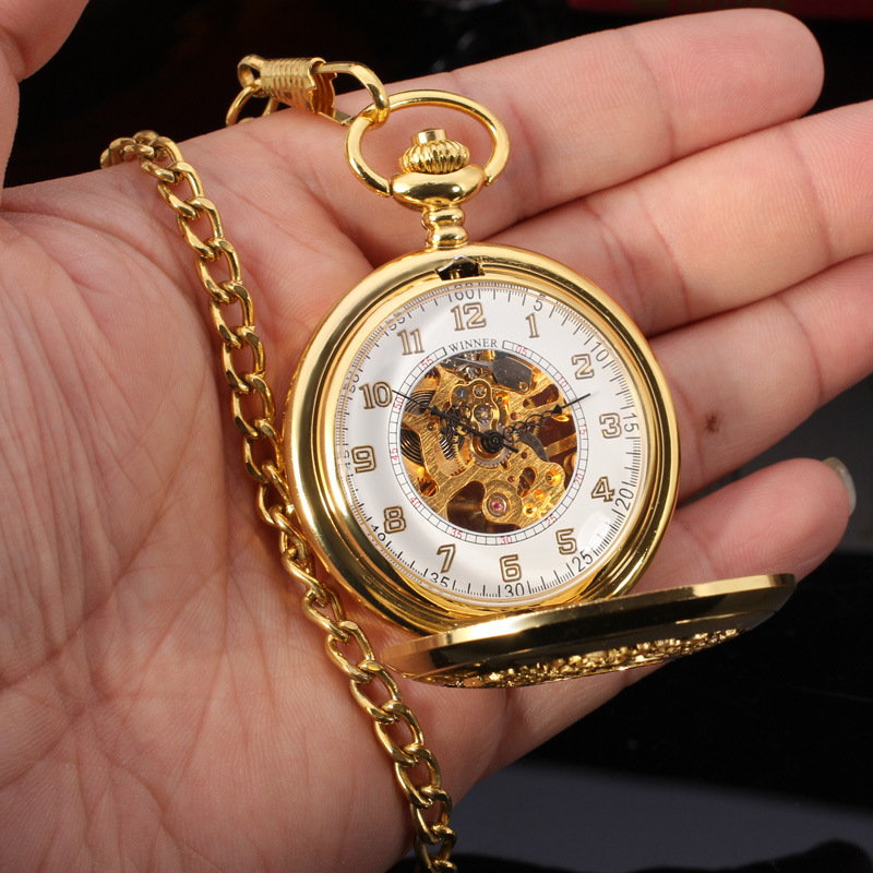 Hot Fashion WINNER Brand Pocket Watches Men Gold Chain Mechanical Hand Wind Pendant Watch Male Skeleton Clocks Necklace Watches(China (Mainland))