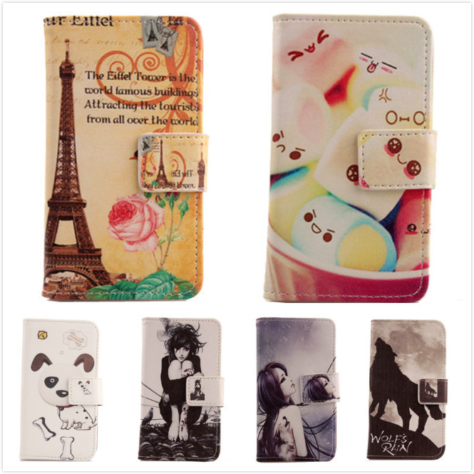 Lovely Cartoon Accessory 6 style selection Design Case For Doogee Pixel DG350 Flip PU Leather Cover Protection Skin Bag BOWEIKE(China (Mainland))