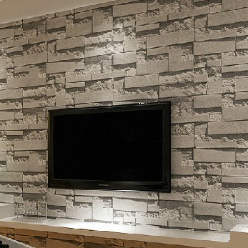 Stacked brick 3d effect stone wallpaper roll grey brick for Grey brick wallpaper living room
