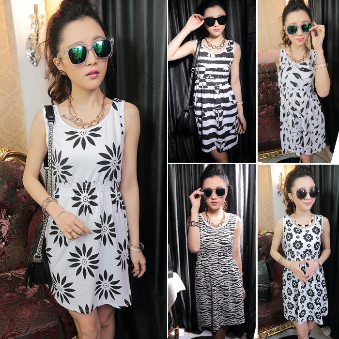 2016 Summer Sexy Slim Women Dress Ice Silk Pure Cotton Sleeveless Girl Dresses -- WM042004(China (Mainland))