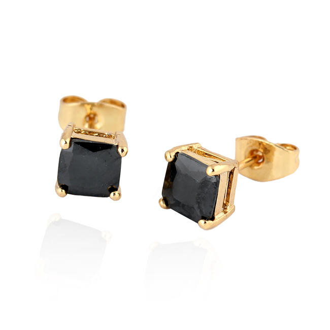 Gussiarro Wholesale Delicate 18K Gold / Platinum Plated Colorful Square Cubic Zirconia Women Stud Earrings No Nickel(China (Mainland))