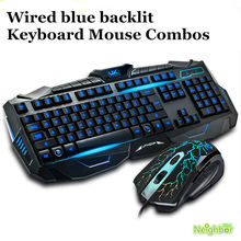 Professional gaming backlit keyboard v-100 computer gamer blue backlight wired keyboard and mouse Combos set USB free shipping(China (Mainland))